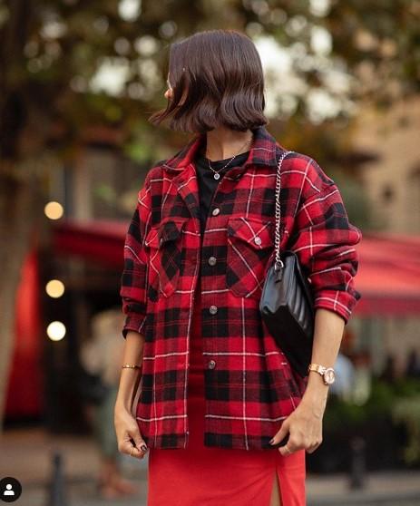 ekose desen kırmızı ceket modeli