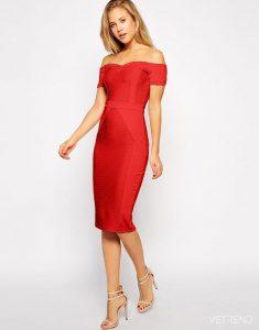 Kırmızı Elbise Ayakkabı Kombinasyonu